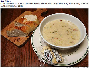 Clam chowder at Sam's Chowder House