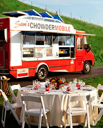Sam's Chowder House offsite catering for wedding reception, rehearsal dinner, bridal shower